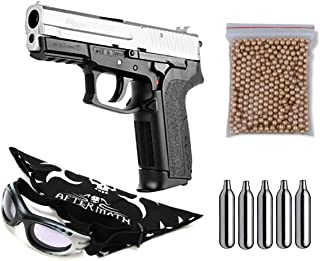 Pack pistola Perdigón Sig Sauer SP2022, corredera metalica. Calibre 4,5mm BBS. Potencia 1,75 Julios + Gafas antivaho + Pañuelo cabeza decorado, + Balines + Bombonas co2