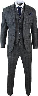 Cavani Men's 3-Piece Suit Grey Herringbone Tweed Design Classic Tight Waisted Vintage