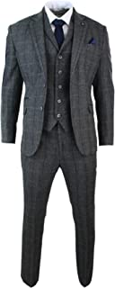 CAVANI Mens 3 Piece Classic Tweed Herringbone Check Grey Navy Slim Fit Vintage Suit Charcoal