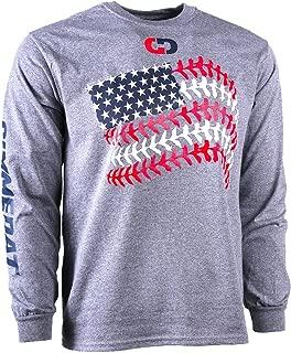 Softball Baseball Seams American Flag Long Sleeve Shirt