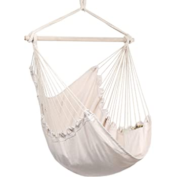 Y- STOP Hammock Chair Hanging Rope Swing - Max 330 Lbs - Quality Cotton Weave for Superior Comfort & Durability (Beige)
