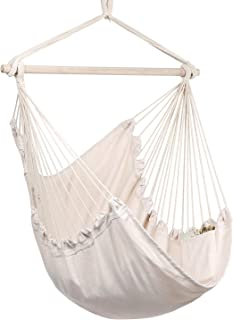 Y- STOP Hammock Chair Hanging Rope Swing, Max 330 Lbs, Quality Cotton Weave for Superior..