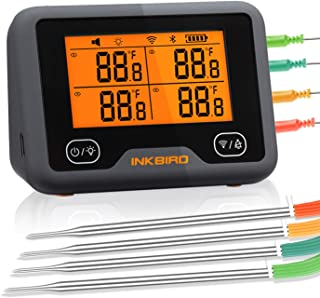 Inkbird Wifi Bluetooth Grill Thermometer IBBQ-4BW Rechargeable Wireless BBQ Thermometer with 4 Probes support Temp Graph C...