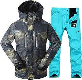 GsouSnow Men's Ski Warm Hooded Suit Jackets Pants Waterproof Windprooof Winter Rain Outdoor Insulated Winter Coat