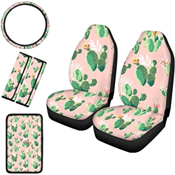 HUGS IDEA Keep Your Vehicle Cool Car 1 Piece Steering Cover with 2 Piece Seat Belt Pads Tropical Cactus Ptrint Stripes Tribal Design Car Interior Protector