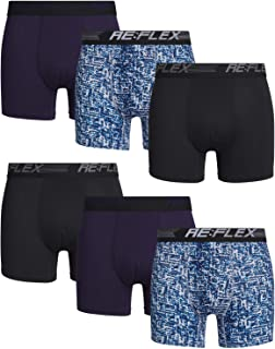 Re:Flex Mens Compression Performance Boxer Briefs Underwear (6 Pack)