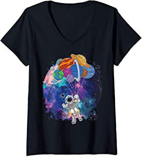 Womens Funny Astronaut with planet balloons in Outer Space Design V-Neck T-Shirt