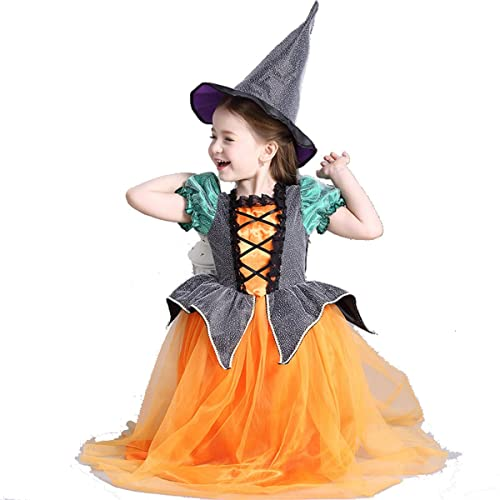 Cute Halloween Pumpkin Witch Dress Costume Set With FREE Witch Hat For  Girls Age 3