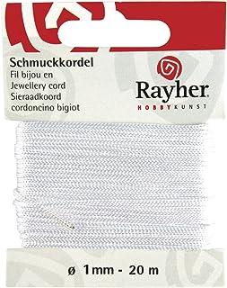 Rayher 8947302 Schmuckkordel, ø 1 mm, SB-Karte 20 m, weiß
