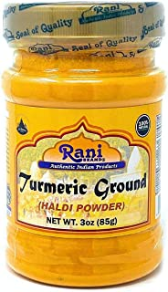 Rani Natural Turmeric (Haldi) Root Powder Spice, (High Curcumin Content) 3oz (85g) ~ 100% Pure, Salt Free | Vegan | Gluten Free Ingredients | NON-GMO | Indian Origin
