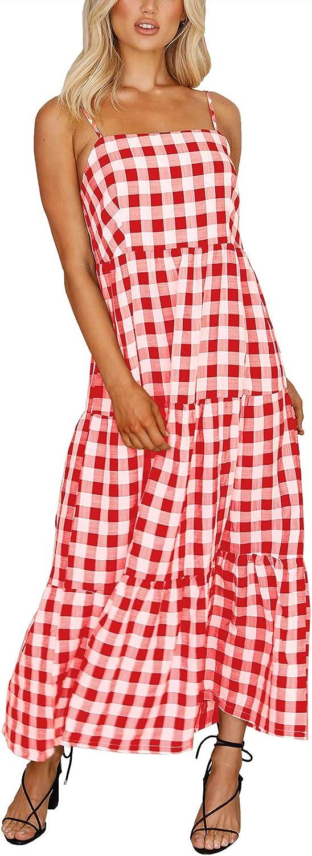 MITILLY Women's Boho Sleeveless Spaghetti Strap Casual Plaid Beach Long Dress with Pockets