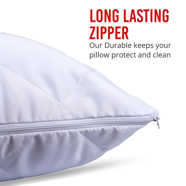 Mak - Pack de 4 protectores de almohada acolchados con cremallera, color blanco 50x75: Amazon.es: Hogar