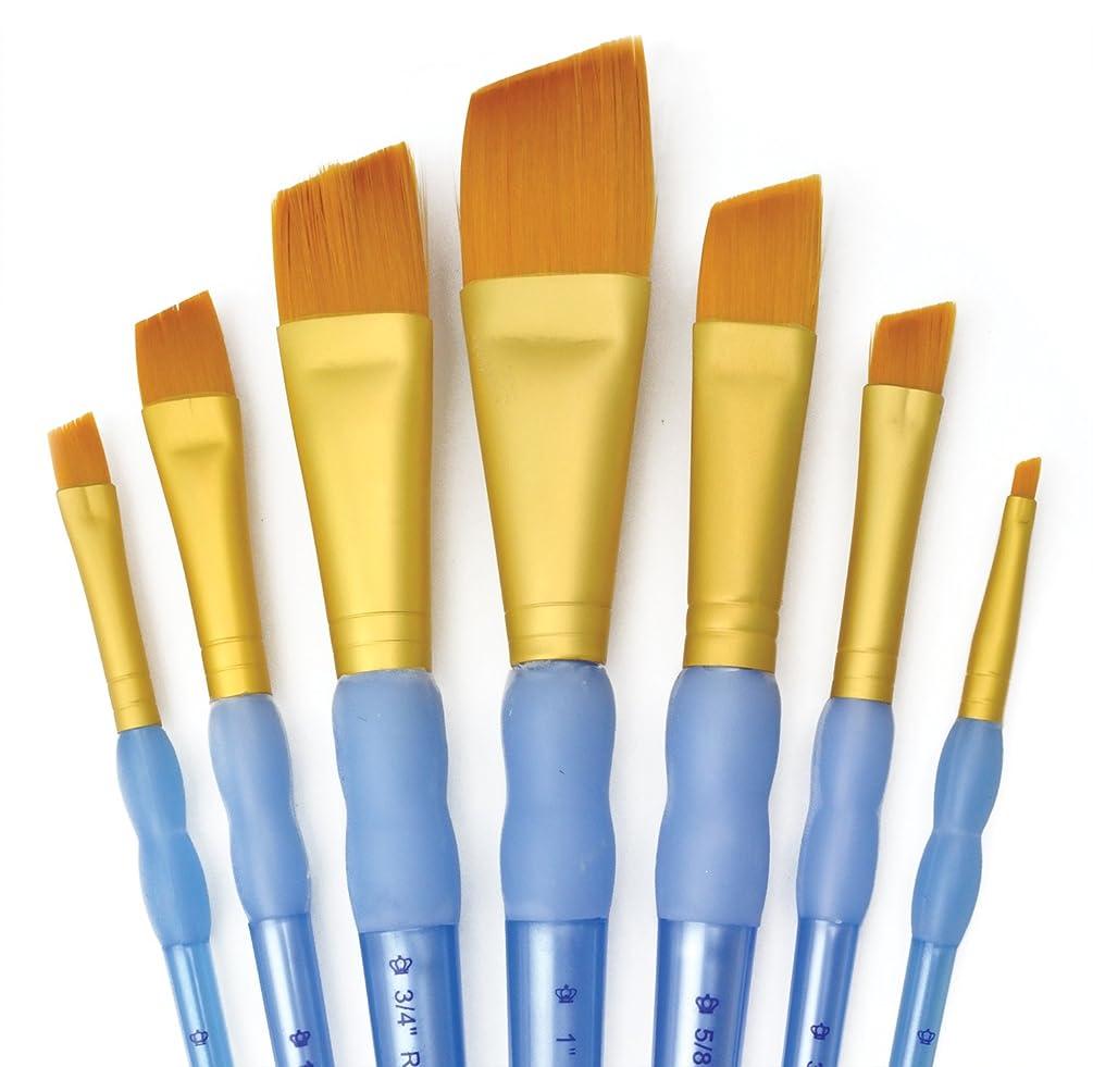 Royal and Langnickel RCC 304 Crafter's Choice Angular Taklon Variety Brush Set - Gold (Pack of 7)