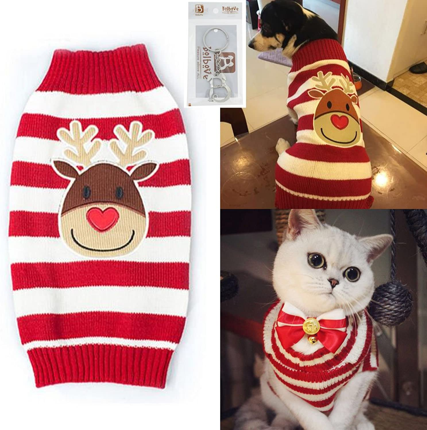 Bolbove Pet Reindeer Stripes Cable Knit Turtleneck Sweater for Cats & Small to Medium Dogs Holiday Knitwear Cold Weather Outfit (XSmall)