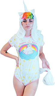 ENVY BODY SHOP Adult Baby & Diaper Lover(ABDL/DDLG/Little Space) Snap Crotch Rainbow Baby Unicorn Romper Onesie