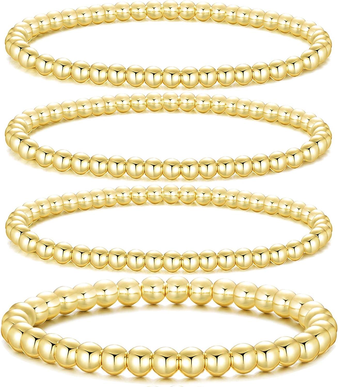 Dndty 14K Gold Plated Bead Ball Bracelets Stretchable Elastic Gold Beaded Bracelets for Women