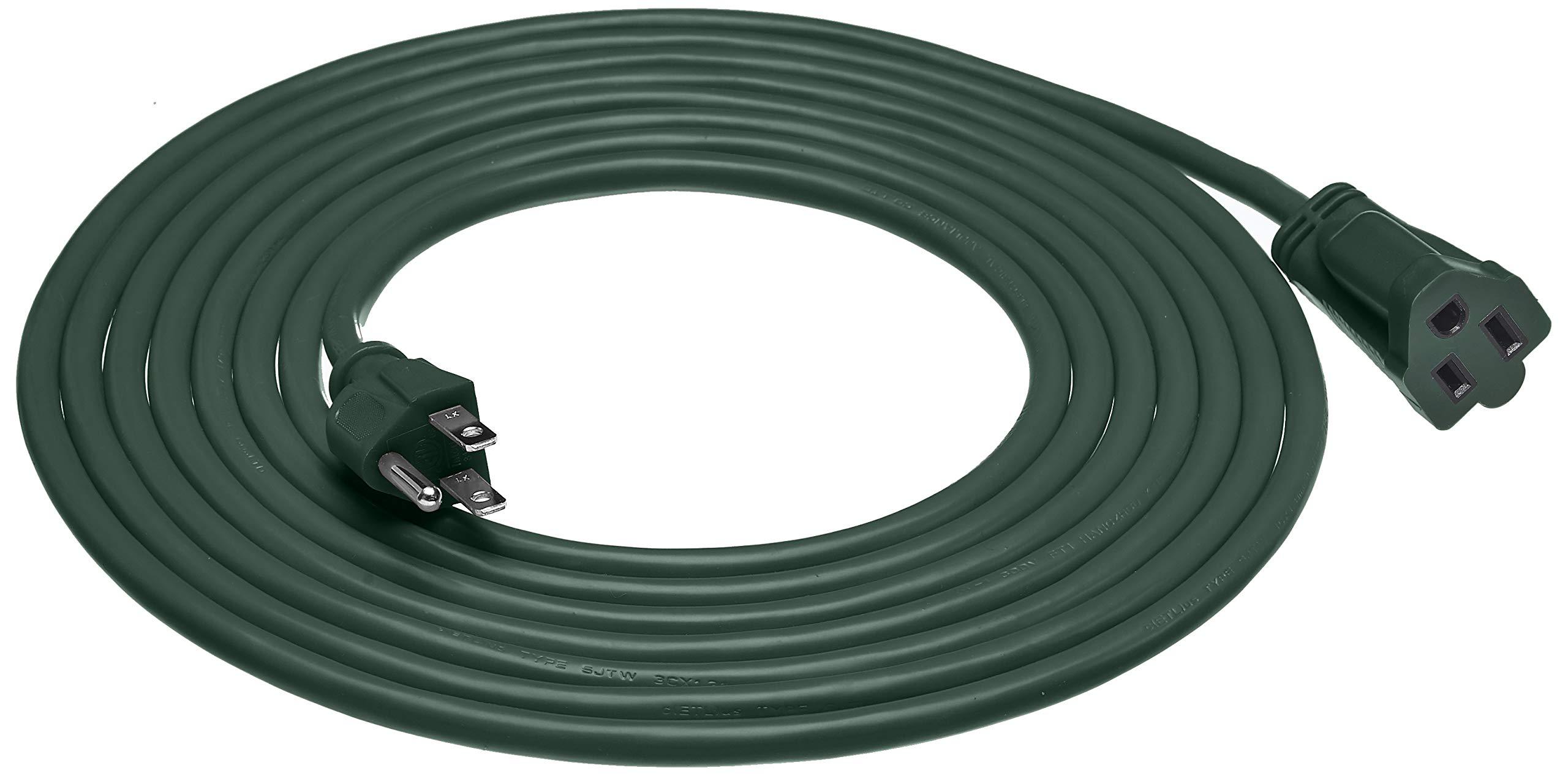 AmazonBasics 16/3 Vinyl Outdoor Extension Cord, Green, 15 Foot