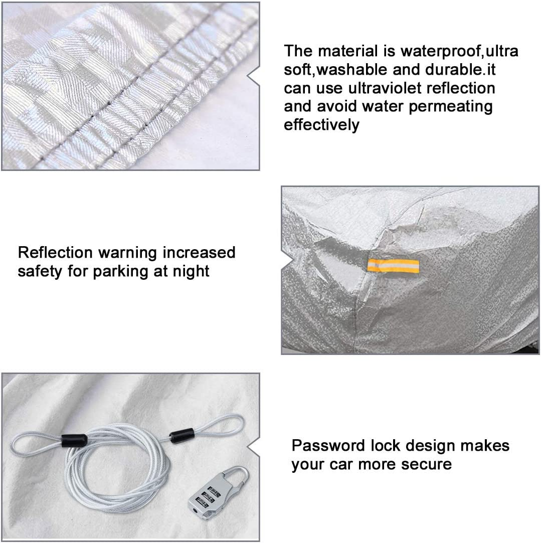 Silver Tone Soft Aluminum Car Cover Outdoor Weather Waterproof Breathable Scratch Rain Snow Heat Resistant 570 x 190 x 160cm uxcell 3XXL