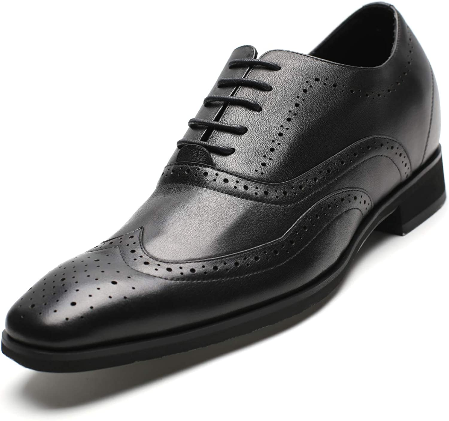 CHAMARIPA Men's Invisible Height Increasing Elevator Shoes-Brogue Formal Oxford Tuxedo Dress Shoes Genuine Leather-2.76 Inches Taller H91K65D221D