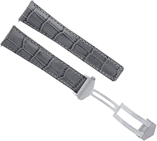 22MM LEATHER BAND STRAP DEPLOYMENT CLASP FOR TAG HEUER CARRERA 1887 MONACO GREY