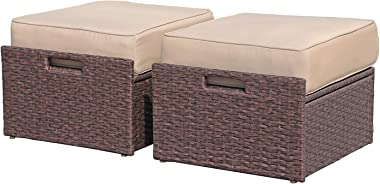 Super Patio 2 Pieces Outdoor Patio Ottoman, All Weather Wicker Rattan Ottoman Set, Extra Large Outdoor Footstool Footrest wit