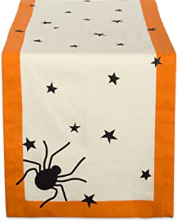 "DII 14x108"" Cotton Table Runner, Black stars - Perfect for Halloween, Dinner Parties and Scary Movie Nights"