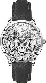 THOMAS SABO Hommes Analogique Quartz Montre avec Bracelet en Cuir WA0355-203-201-42 mm
