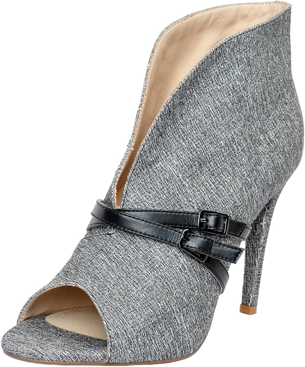 Original Intention Women Ankle Boots Peep Toe Slip-On Thin High Heels Sexy Elegant Grey shoes