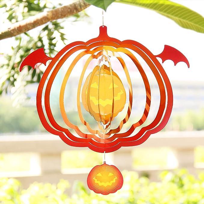 Amazon.com: Halloween Decor Pendant Spider Pumpkin Shape Wind Spinner Metal 3D Rotating Outdoor Wind Chime Tree Door Wind Bell Hanging Ornaments Home Garden Decoration (Pumpkin) : Patio, Lawn & Garden