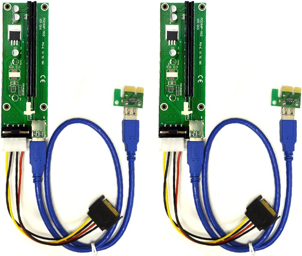 2-Pack Inexpensive PCIe 4-Pin MOLEX PCI-E 16x to Powered Max 50% OFF Adapter Riser Ca 1x
