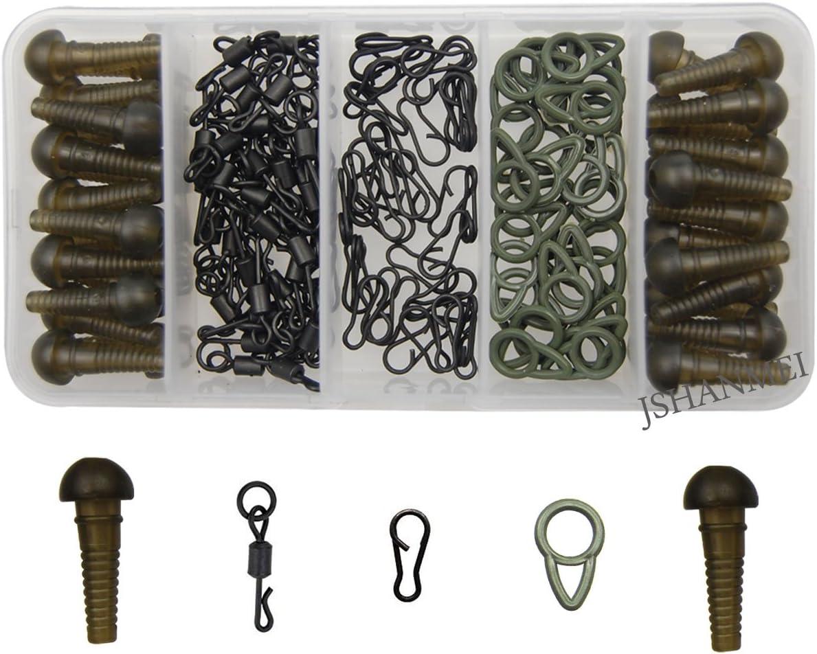 100 X Rolling Swivels Carp Fishing Quick Change Matt Black Connector Solid Ring