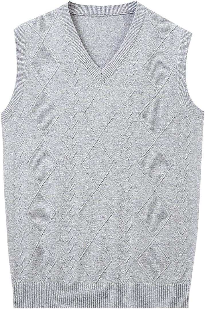 GYSAFJ Autumn Men's Woolen Vest Casual Sleeveless Slim Loose Business V-Neck Sweater