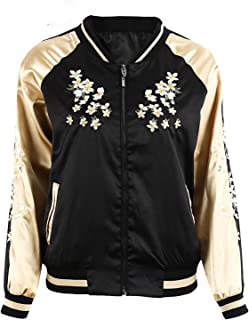 Spyman Nice Floral Satin Jacket Coat Autumn Winter Street Jacket Women Casual Jackets Reversible Sukajan New
