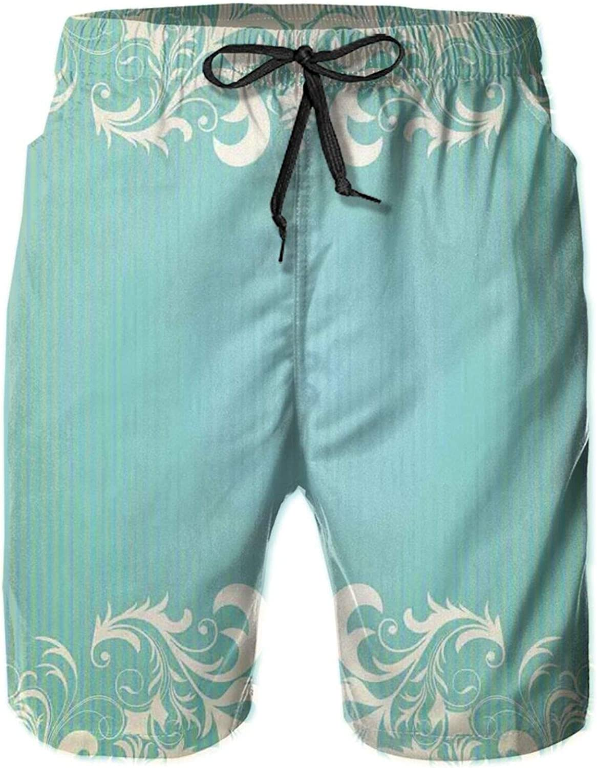Old Fashioned Frame with Grungy Ancient Floral Curlicues Baroque Revival Motifs Drawstring Waist Beach Shorts for Men Swim Trucks Board Shorts with Mesh Lining,XXL