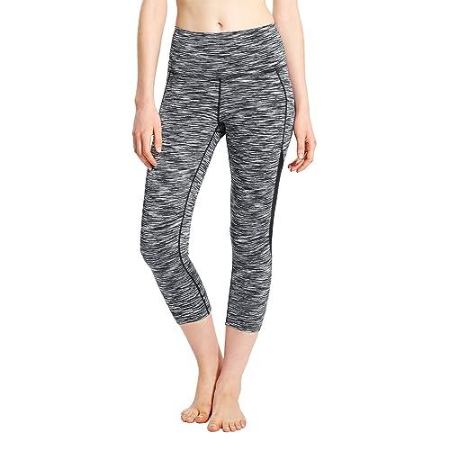 67cabcd5f Baleaf Women's High Waist Yoga Capri Leggings Tummy Control Non See-Through  Fabric