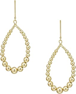Gold w/ White Pearl Open Oval Direct Post Earrings