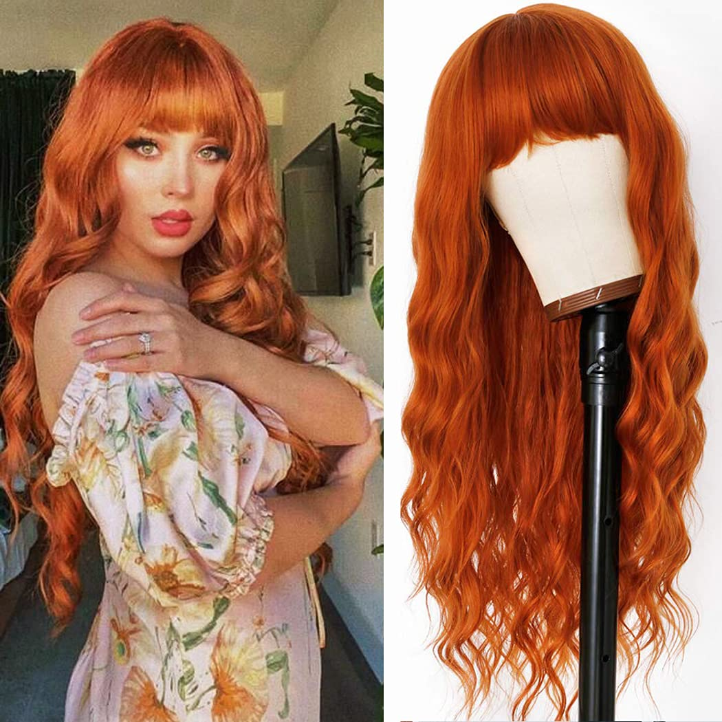 Relena Long Wavy Orange Alternative dealer Wig All stores are sold 30'' Synthetic Curly with Bangs