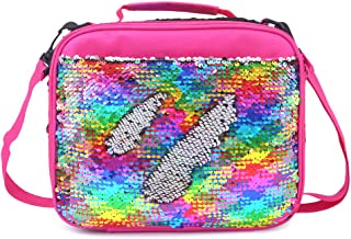 Mermaid Lunch Box for Girls Flip Sequin Insulated School Lunch Bag Durable Thermal Reusable Lunch Tote Glitter (Rainbow)