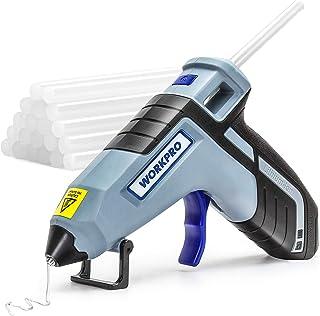 WORKPRO グルーガン コードレス スティック20本付き 100s予熱 USB充電式 急速加熱 液漏れ やけど防止 小型 強力粘着 DIY 補修 接合 手芸 木工 粘着工具