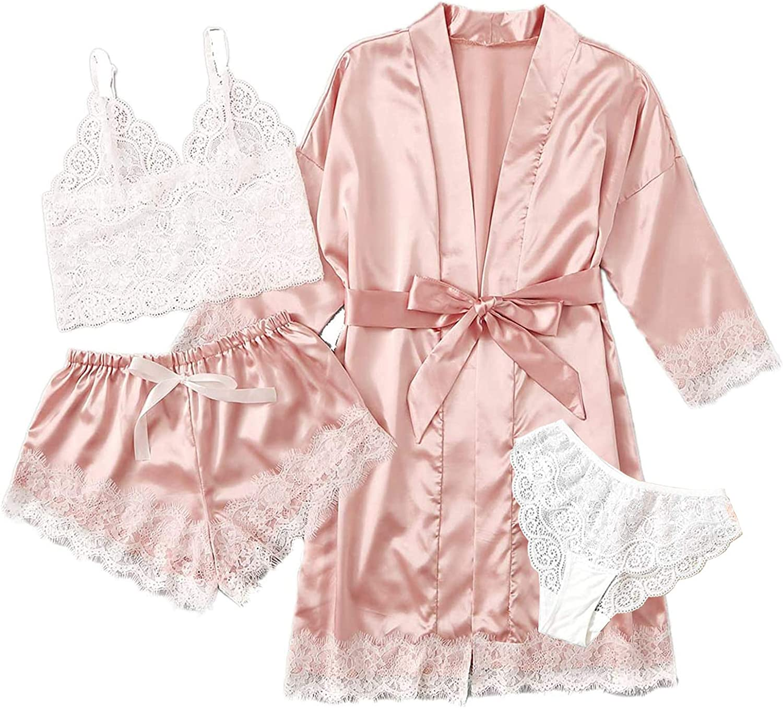 Belleet 4pcs Women's Satin favorite Max 59% OFF Pajama Set with F Cami Sleepwear Robe