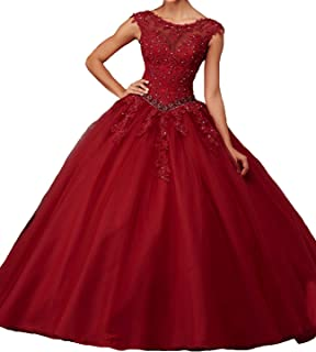 Women's Cap Sleeves Prom Ball Gowns with Appliques Beaded Quinceanera Dresses Tulle