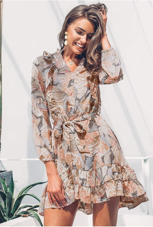 Elegant Floral Print Women Short Shirt Dress V Neck Long Sleeve Ruffle Satin Spring Casual Plus Size Sundress
