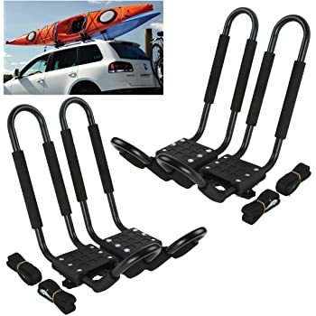 Kayaks Surfboard DrSportsUSA Universal Kayak Rack and Canoe Carrier Rooftop Mount on SUV Car and Truck with Bow and Stern Lines Suitable for Canoe SUP