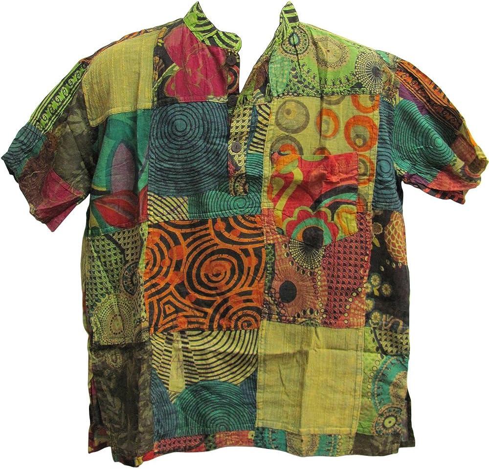 Yoga Trendz Men's Indian Vintage Bohemian Hippie Patchwork Short-Sleeved Shirt Green Tones
