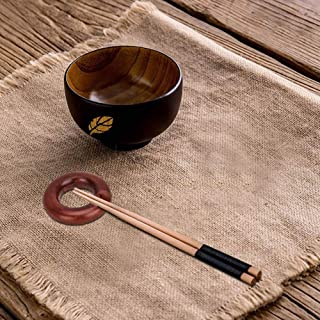Japanese Natural Wooden Chopstick Rest Handcrafted Antique Spoon Fork Knife Holder for Home Dinner Decor Two Packs (Round shape)