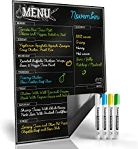 Magnetic Menu Board for Kitchen Fridge with Bright Chalk Markers - 17X12
