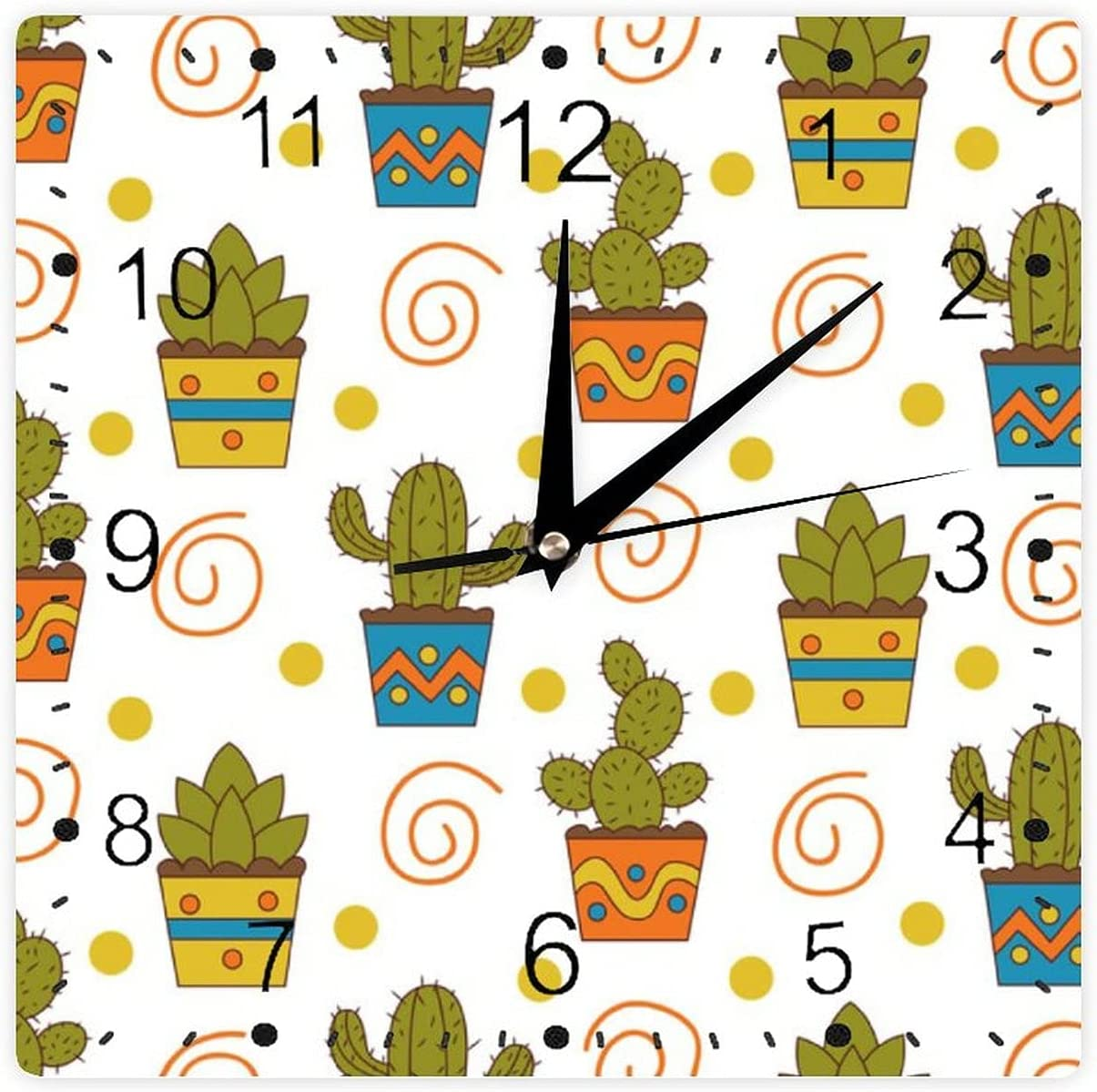 Decorative Wall Clock Popularity Silent Non Cactus Pattern Ticking Seamless All items in the store