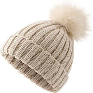 Women Winter Pompoms Beanie Hat Warm Acrylic Knit Hat with Cut Pom pom Ski Cap for Unisex Men Kids Girls Boys