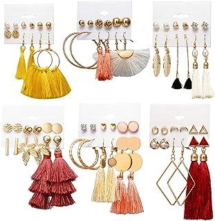 ZOYLINK 36 Paires de Boucles d'oreilles pour Femmes à la Mode Pompon Bohème Boucle d'oreille Charme Boucle d'oreille