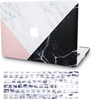 """KECC Laptop Case for MacBook Air 13"""" w/Keyboard Cover Plastic Hard Shell Case A1466/A1369 2 in 1 Bundle (White Marble with Pink Black)"""